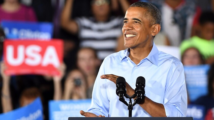 President Obama campaigns for Hillary Clinton on Oct. 23 in North Las Vegas.