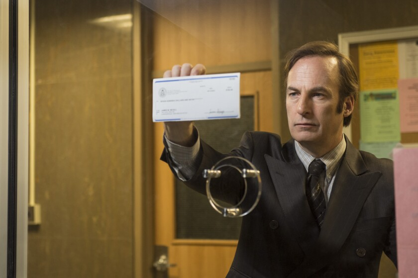 "Bob Odenkirk as Saul Goodman in a scene from the first episode of ""Better Call Saul."""