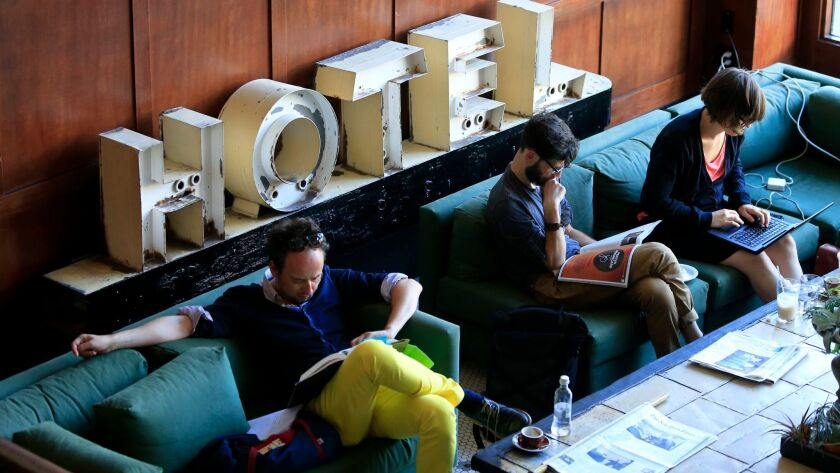 The lobby of the Ace Hotel in downtown Portland shows the edgier, younger look and feel in the lobby. A survey suggests millennial travelers like short-term rentals but they prefer the safety and amenities of a hotel.