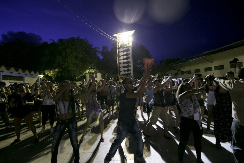 The crowd dances on the first night of the Manana Cuba festival.