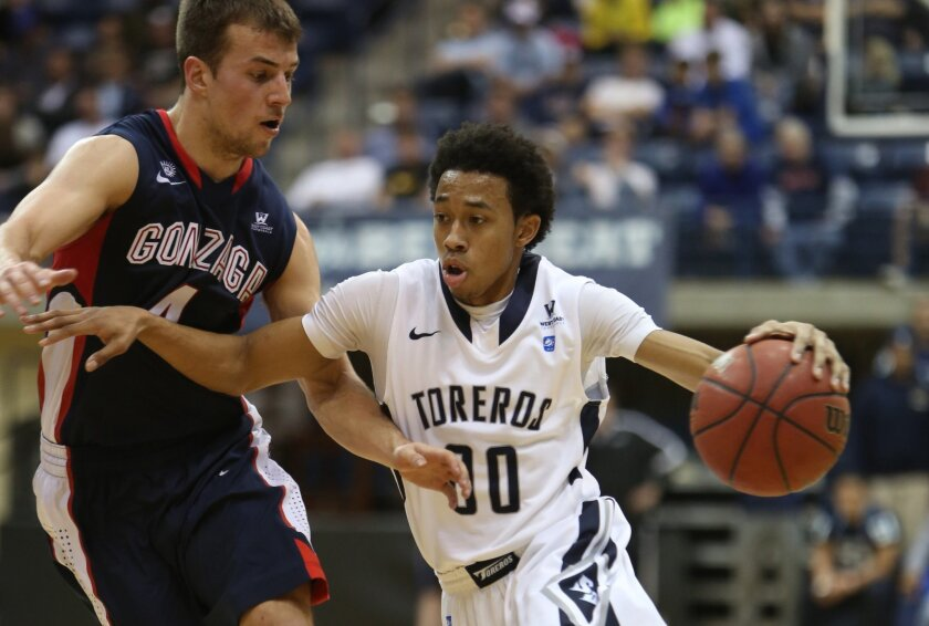 USD guard Christopher Anderson (nine points, 11 assists) tries to get past Gonzaga's Kevin Pangos.