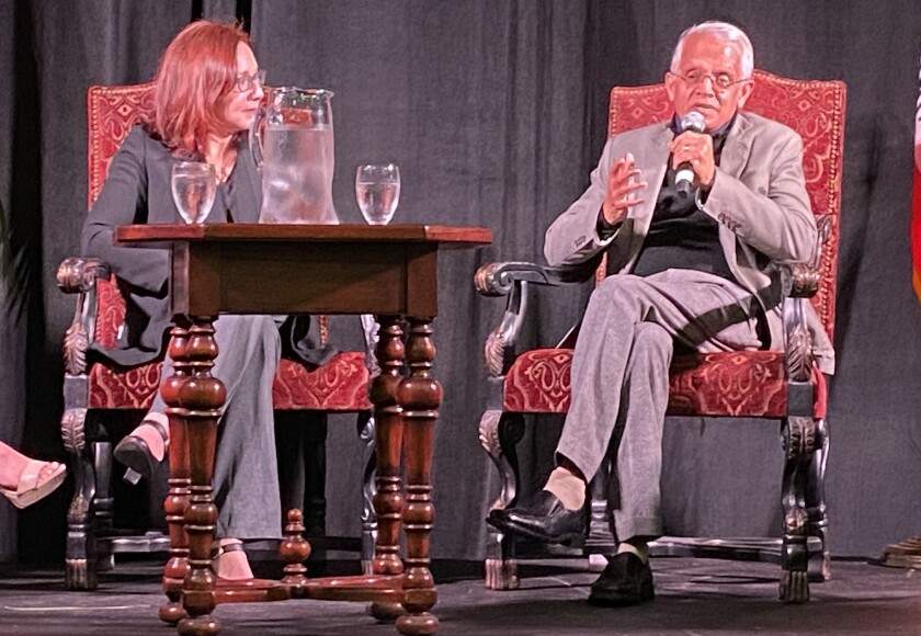 Climate scientists Katharine Hayhoe and Veerabhadran Ramanathan share a stage in the gymnasium at The Bishop's School, Jan. 15.