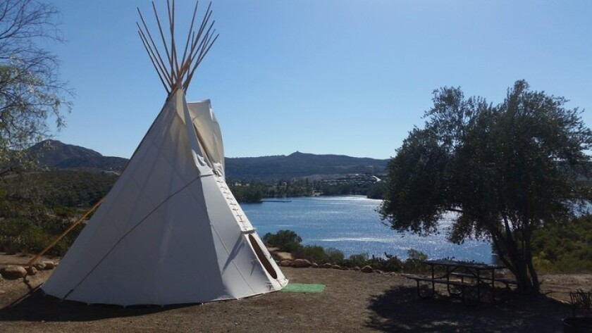 Tipis ready for campouts at Lake Jennings