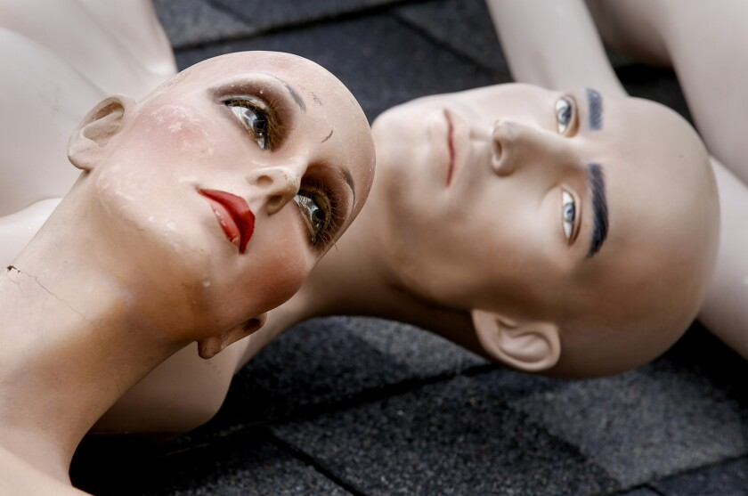 """The flawed faces of mannequins from ChadMichael Morrisette's art installation """"No One Is Safe."""""""