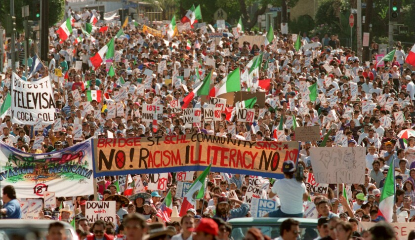 The Oct. 16, 1994 march protesting Proposition 187, which would pass on Nov. 8, 1994, only to be declared unconstitutional.
