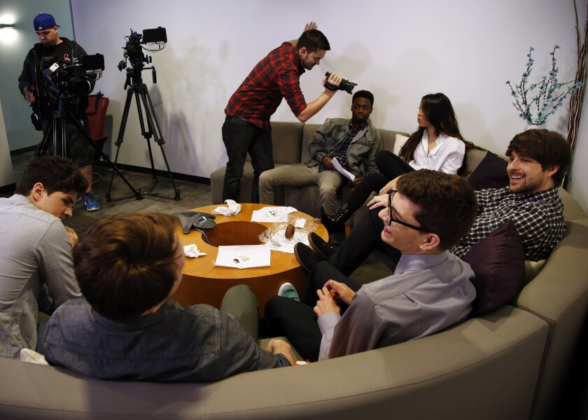 Cast members of Smosh film in online publisher Defy Media's studios in Beverly Hills last year.