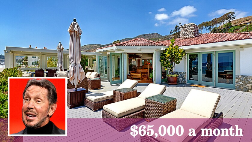 A home along Malibu's Carbon Beach that is owned by billionaire Larry Ellison is up for lease at $65,000 a month.