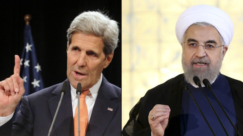 U.S. Secretary of State John Kerry, left, delivers remarks about the Iran nuclear deal Tuesday in Vienna. At right, Iranian President Hassan Rouhani addresses his nation in a televised speech after the deal was announced.