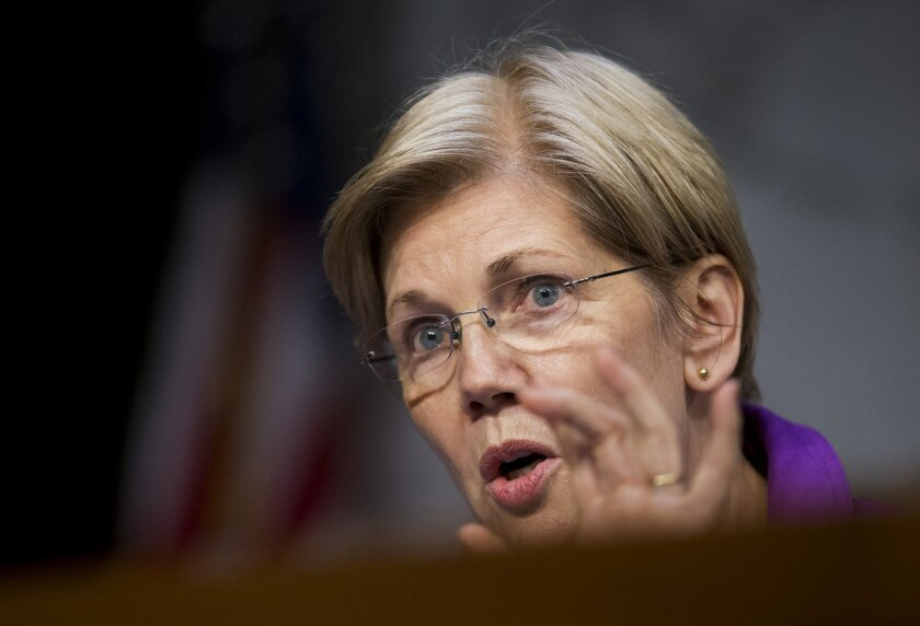 In this photo taken April 27,2016, Sen. Elizabeth Warren, D-Mass. speaks on Capitol Hill in Washington. Warren is grabbing center stage in the 2016 presidential race as Donald Trump's most effective antagonist and Sen. Bernie Sanders' top rival for the affections of progressive voters. The combination could make Warren an indispensable ally to Hillary Clinton, in the process elevating her own stature and allowing her to draw attention to the issues she cares about most. (AP Photo/Manuel Balce Ceneta)