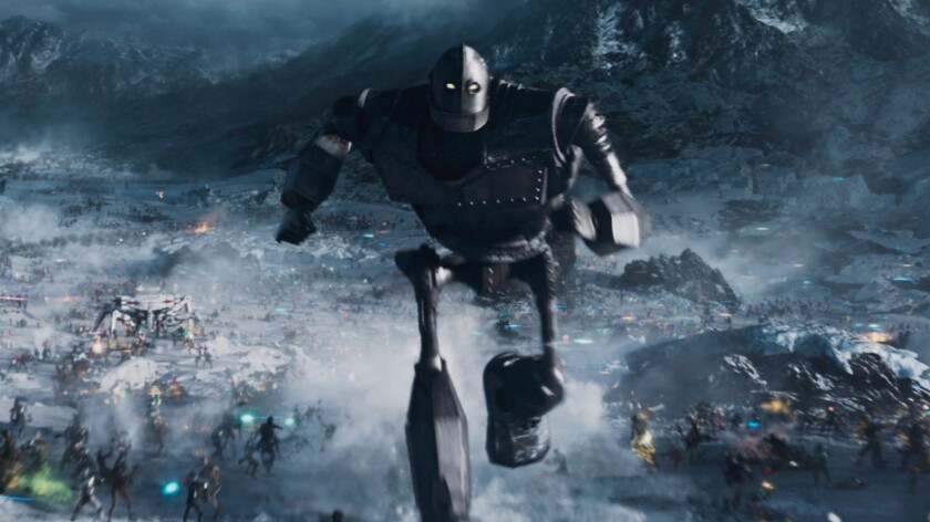"The Iron Giant heads into battle in a scene from director Steven Spielberg's sci-fi adventure film ""Ready Player One."""