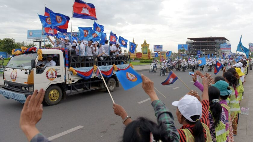 Supporters of the Cambodian People's Party rally on July 22, 2018, in Phnom Penh.