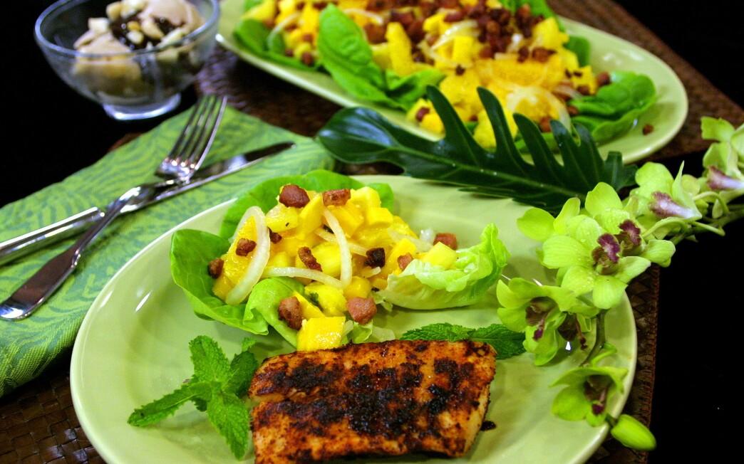 Pineapple Salad With Grilled Mahi-Mahi