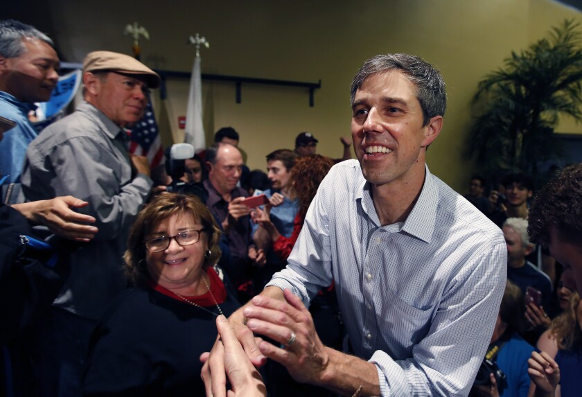 United States presidential candidate Beto O'Rourke greets supporters during a town hall-style rally at the Jacobs Center for Neighborhood Innovation in San Diego on April 30, 2019.