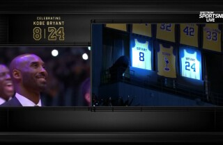 The Lakers retired both of Kobe Bryant's numbers Monday night