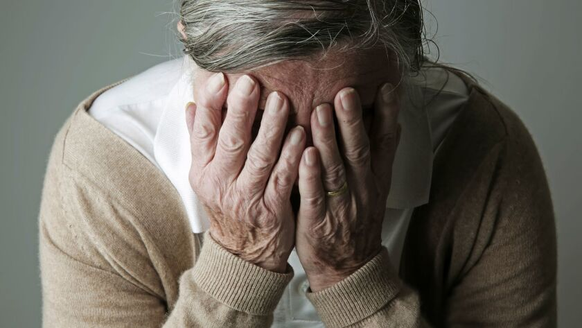 Senior woman covering face with her hands ** OUTS - ELSENT, FPG, CM - OUTS * NM, PH, VA if sourced b