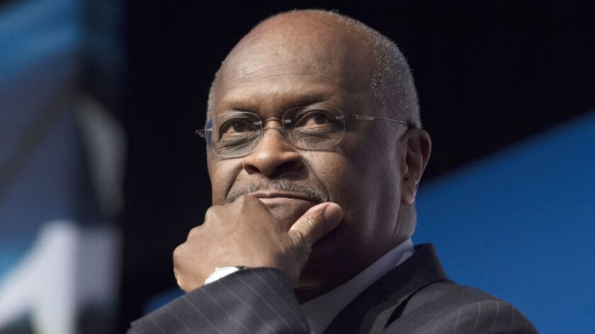 FILE - In this June 20, 2014 file photo, Herman Cain, CEO, The New Voice, speaks during Faith and Fr