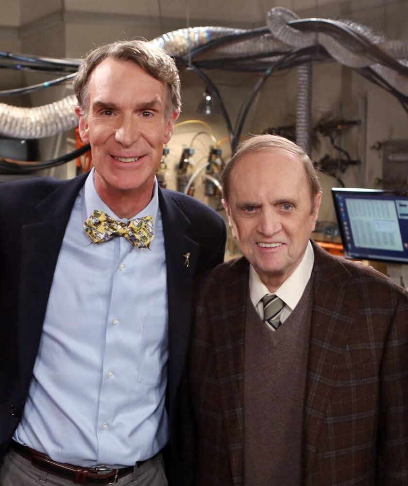 Nerds rejoice: 'Science' was word of the year, according to Merriam-Webster. Above, science educator Bill Nye (left) appears with comedian Bob Newhart on CBS's sitcom The Big Bang Theory, based at Caltech.