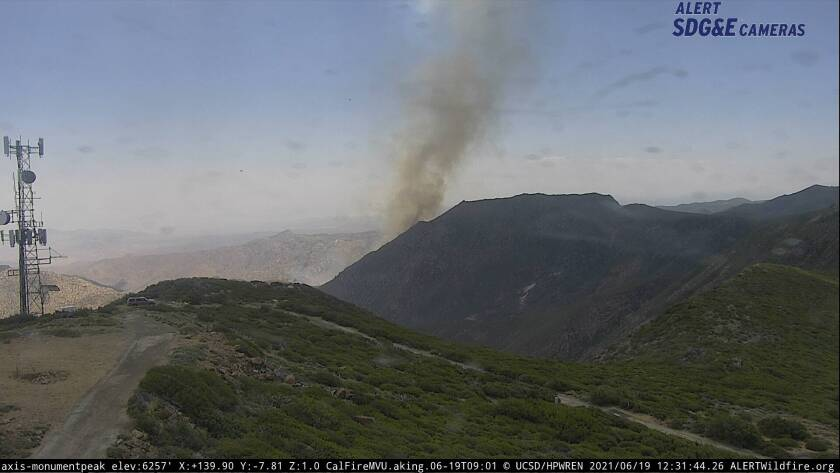 Image from Monument Peak of the Overland fire burning Saturday near Canebrake.