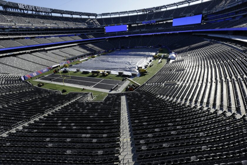 The New York Giants' MetLife Stadium in East Rutherford, N.J. in December 2013. On Feb. 2, 2014 millions will watch Super Bowl XLVIII take place at the stadium. (AP Photo/Julio Cortez)