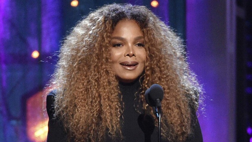 Honoree Janet Jackson speaks at the Rock & Roll Hall of Fame induction ceremony in New York in March.