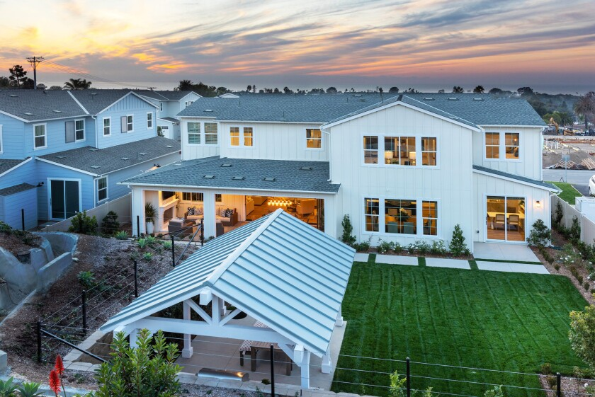 The model home at California West's Blue Crest sales center is open daily, from 1 to 5 p.m. Mondays and 10 a.m. to 5 p.m. Tuesdays to Sundays.