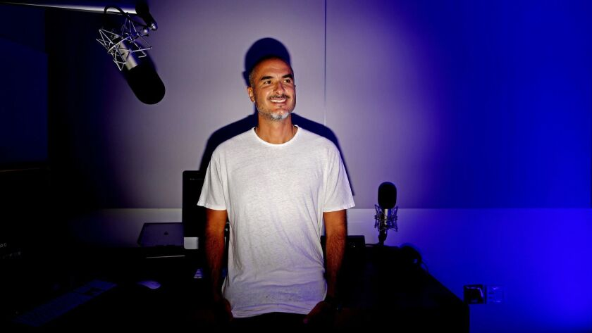 CULVER CITY, CALIF. -- THURSDAY, JULY 26, 2018: Zane Lowe, radio DJ on Apple Music, in the studio at