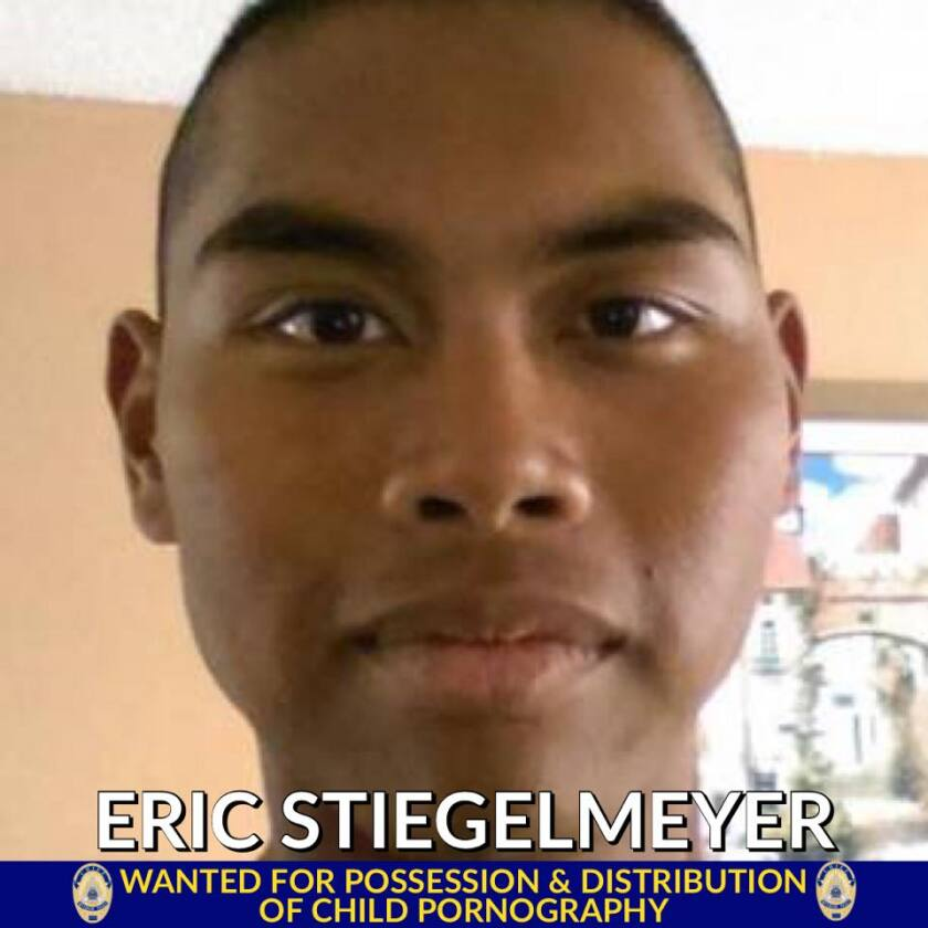 Eric Steigelmeyer is wanted on a federal child pornography warrant and is being investigated separately by Escondido police.