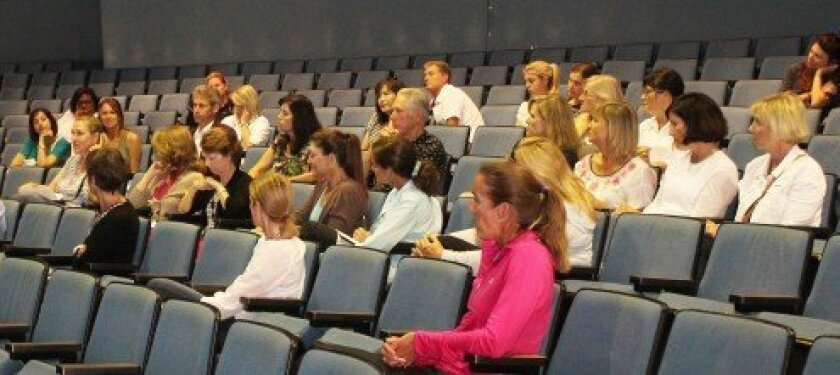 La Jolla High parents offer suggestions for attributes they hope to see in the school's new principal during a meeting with district area superintendent Julie Martel on Aug. 6. At the time, Martel told parents the district hoped to have a principal hired by the start of the school year. Fil