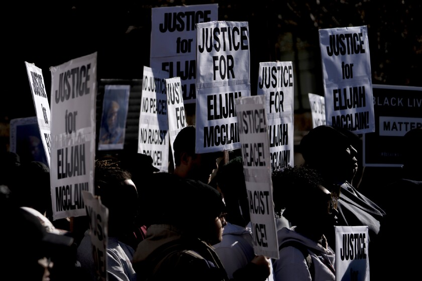 Protesters seek justice after Elijah McClain died in police custody in Aurora, Colo., in August 2019.