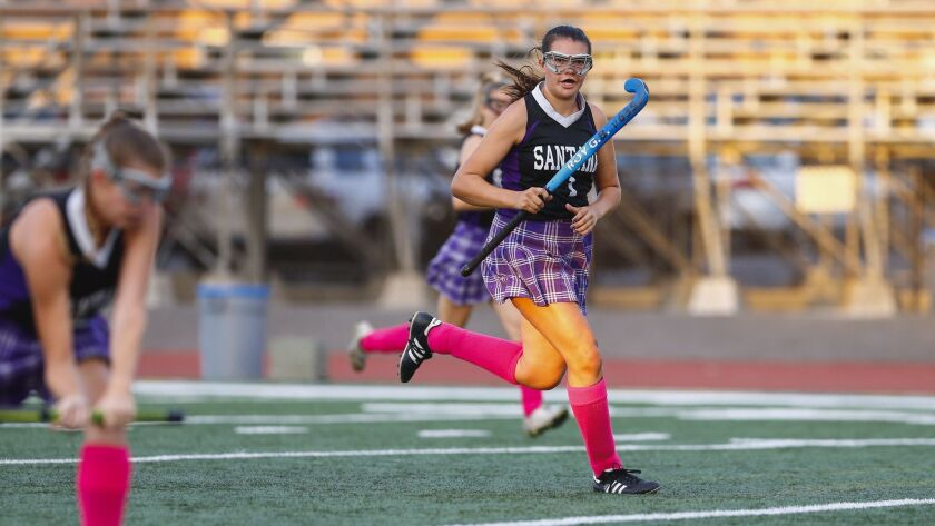 Santana High School field hockey player Jordyn Kemp (1) plays in a match against El Cajon Valley on Monday, October 1st, 2018 at El Cajon Valley High School.