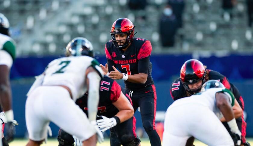 San Diego State graduate transfer quarterback Lucas Johnson is expected to start Saturday against Utah.