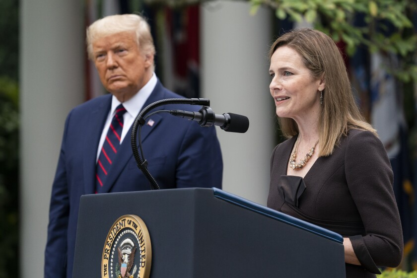 Amy Coney Barrett speaks at the White House after President Trump announced her as his nominee to the Supreme Court