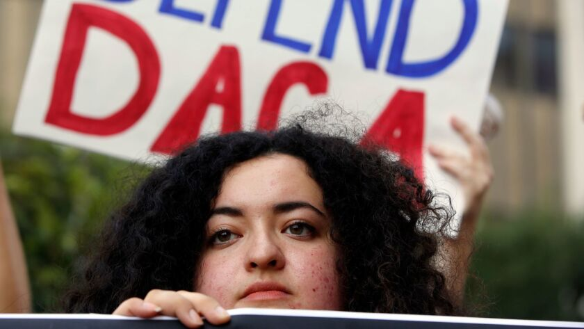 Loyola Marymount University student and dreamer Maria Carolina Gomez joins a rally in support of the DACA program in Los Angeles on Sept. 1, 2017.