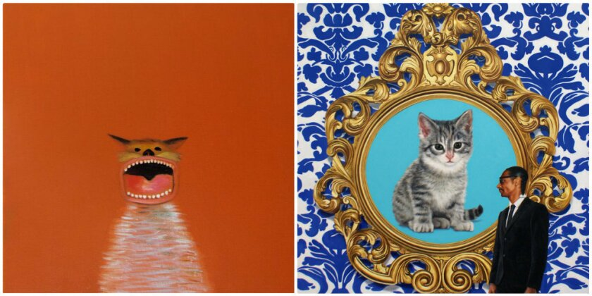 """Nicholas Chistiakov's """"Orange Cat"""" (left, oil on canvas, 2013) and Marc Dennis' """"A Great Big Giant World,"""" (right, oil on linen, 2013) will be among the feline-focused pieces on exhibit at the inaugural Cat Art Show Los Angeles from Jan. 25 to Feb. 2."""