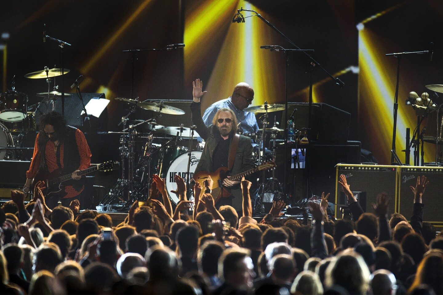 Tom Petty acknowledges the crowd while performing as the honoree of the Recording Academy's MusiCares Person of the Year at the Los Angeles Convention Center on Feb. 10, 2017.