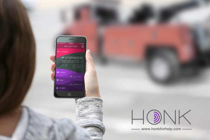 Honk, a start-up based in Santa Monica, allows motorists to request roadside assistance via an app or website. The service became available nationwide on Nov. 19.