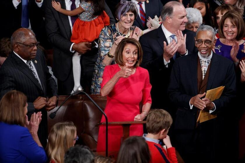 Nancy Pelosi (C) reacts after being elected Speaker of the House during the opening session of the 116th Congress in the US Capitol in Washington, DC, Jan.3, 2019. EPA-EFE/SHAWN THEW