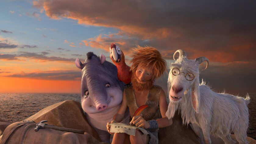 """Rosie, Tuesday, Robinson Crusoe and Scrubby in the animated movie """"The Wild Life,"""" which was released in the U.S. as """"Robinson Crusoe."""""""