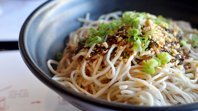 The zingy Sichuan noodles at Mian in the San Gabriel Valley are a cut above the usual cold sesame noodles.