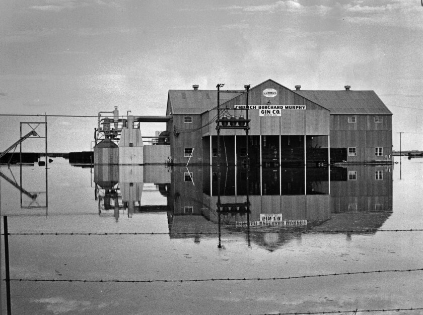 Aug. 24, 1977: Flooded cotton gin on Dogwood Road in Brawley inundated by flood waters following heavy rains.