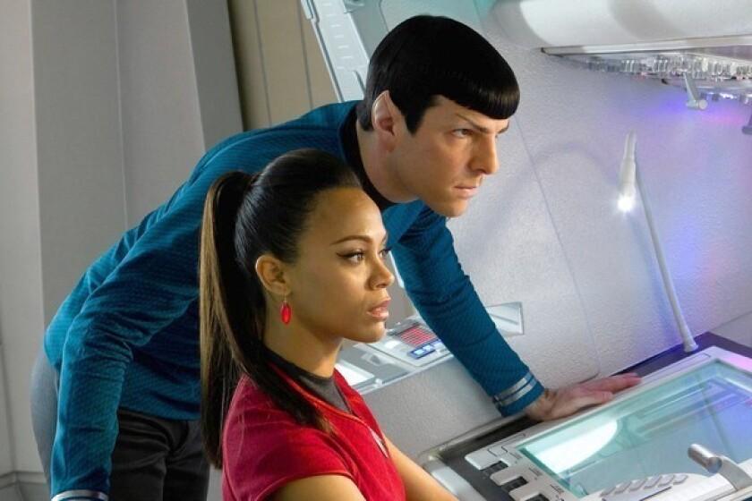 "Zachary Quinto and Zoe Saldana star in ""Star Trek Into Darkness."""