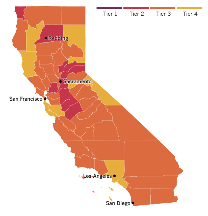 A map of California showing most counties in Tier 3  and some in Tier 2 and Tier 4