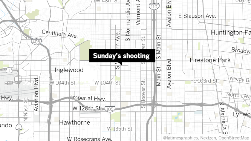 Approximate location of Sunday's shooting