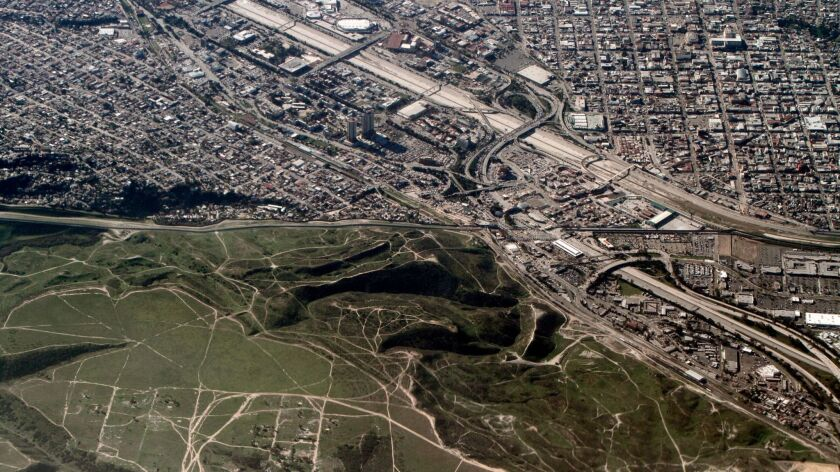 An aerial view of the U.S.-Mexico border in Southern California. San Ysidro is at bottom and Tijuana is at top.