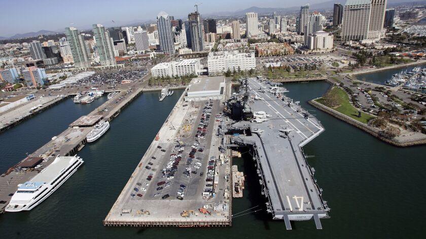March 29, 2007, San Diego, California, USA_ Downtown San Diego, San Diego Bay, USS Midway, Broadway