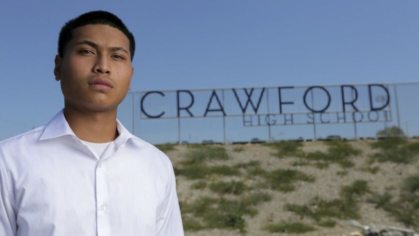 Vanndyra Jason Srouy, 20, at Crawford High School in San Diego Friday. photo by Bill Wechter