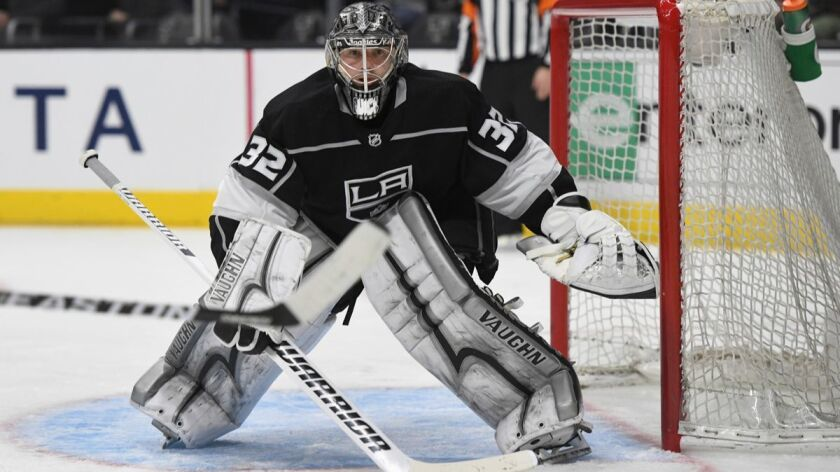 Kings goalie Jonathan Quick guards the net during a game against the New York Rangers on Sunday.