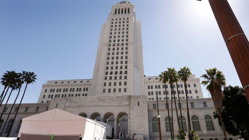 LOS ANGELES, CA - MARCH 6, 2017 - Barricades halt pedestrian traffic as a film crew works on the ste