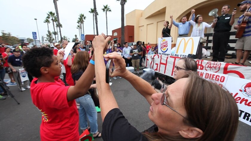 This rally took place in City Heights Thursday morning at Fairmount and University avenues.