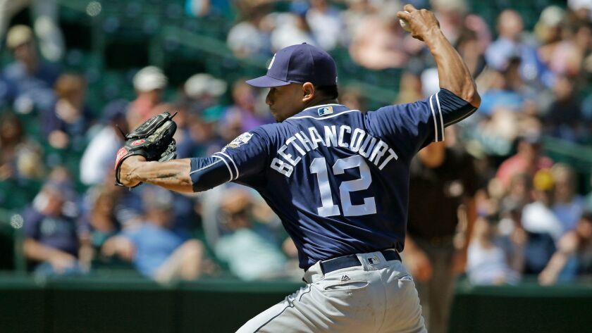 The Padres' Christian Bethancourt pitches in the eighth inning against the Seattle Mariners, Tuesday, May 31, 2016, in Seattle. Bethancourt played catcher earlier in the game. The Mariners beat the Padres 16-4.